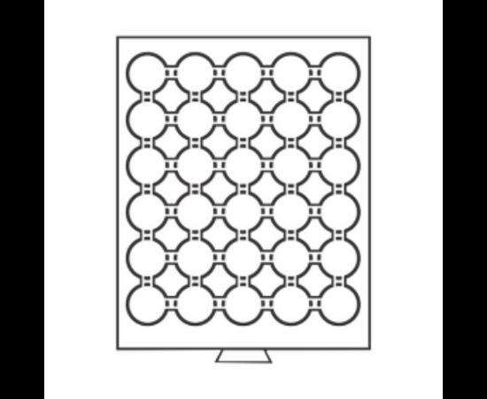 Érmetároló tálca (szekrényhez), 30 x Ø 32 mm – 10 €, 10 Mk, 1 rubel, USA ½ $ Kennedy