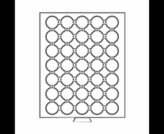 Érmetároló tálca (szekrényhez), 35 x Ø 29 mm – 2 Mk, KR, 5 DM, 20 OES