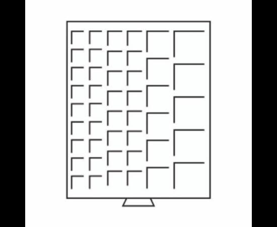 Érmetároló tálca (szekrényhez), 45 x különböző Ø érméknek