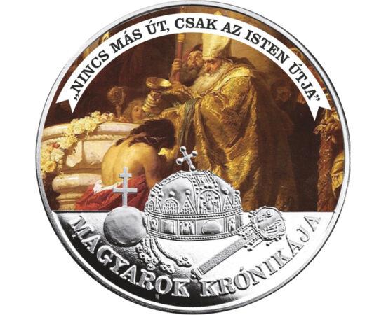 // 5 korona fantáziaveret, Magyarország, ND // - A magyar történelem kétség kívül egyik legfontosabb pillanatát idézi ez a művészi érem. Vajk megkeresztelése, majd királlyá szentelése biztosította a magyarság csatlakozását a keresztény Európához, és így e