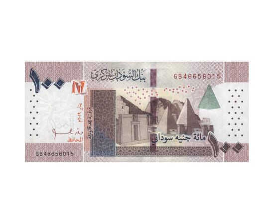 // 100 font, Szudán, 2019 // - Az arabok a középkorban Fekete országnak nevezték a mai Szudán területét. Az ország hosszú ideig egyiptomi uralom alatt állt. Erről tanúskodik ez a bankjegy is. Hátlapján az ókori építészet monstrumai, a piramisok, előlapján