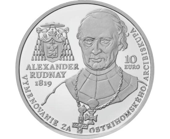 // 10 euró, 900-as ezüst, Szlovákia, 2019 // - Rudnay Sándor Erdély püspöke, majd 1819-től haláláig esztergomi hercegprímás volt. Elhatározta, hogy Esztergomot az ország egyházi központjává teszi. Az egész Várhegyet betakaró épületegyüttest tervezett, mel