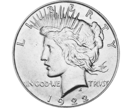 // 1 dollár, 900-as ezüst, USA, 1921-1935 // - 1917. április 6-án az USA hadat üzent a központi hatalmaknak, és ezzel eldöntötte a háború végkimenetelét. Négy év öldöklés és sok millió halott után a békevágy szülte ezt a legendás ezüstpénzt, a PEACE-dollá