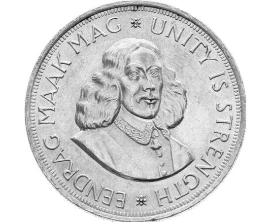 // 50 cent, 500-as ezüst, Dél-Afrika, 1961-1964 // - Hollandia a XVII. században számos gyarmatot szerzett Ázsiában, Amerikában és Afrikában. A dél-afrikai 50 centesen Fokváros alapítójának, Jan van Riebeecknek a portréja látható, aki a Holland Kelet-indi