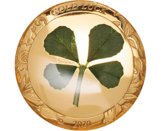 // 1 dollár, 999,9-es arany, Palau, 2020 // - A négylevelű lóherét a kelta kultúrában a rossz szellemek ellen védő amulettként használták. Ez a hagyomány terjedt el aztán szerte a világban. Emellett az is tény, hogy 10000 háromlevelű lóhere között csupán