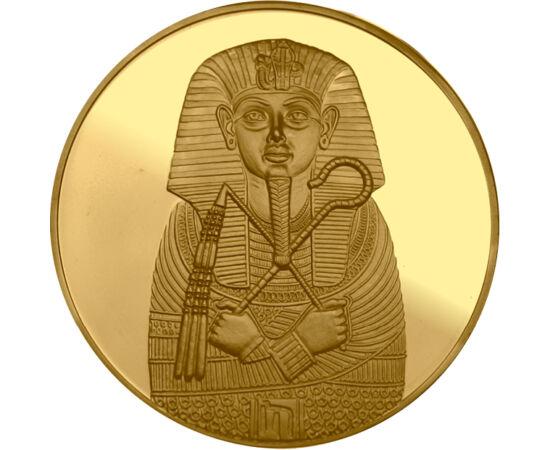 // aranyozott, festett érem, Egyiptom, ND // - Tutanhamon fáraó sírját feltárva a régészek bámulatos aranykinccsel kerültek szembe. Ez a mai napig az ókori Egyiptom egyik legnagyobb és leghíresebb lelete. A csodás kincsek ezúttal színarannyal bevont tükör
