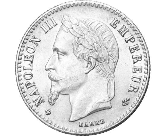 """// 50 cent, 835-ös ezüst, Franciaország, 1864-1869 // - 1848-ban a száműzött Louise Napóleon a Francia Köztársaság elnöke lett. A vele kapcsolatos várakozásokat jól példázták Viktor Hugo szavai: """"Nem egy herceg tért vissza, hanem egy eszme."""" Ezt kihasznál"""