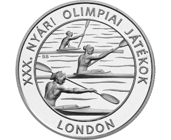 // 3000 forint, 925-ös ezüst, Magyarország, 2012 // - 2012-ben London adott otthont a XXX. Nyári Olimpiai Játékoknak. Egyúttal ez volt London harmadik olimpiája 1908 és 1948 után. Az érmén egyik sikersportunk, a kajak került ábrázolásra. Londonban 3 arany