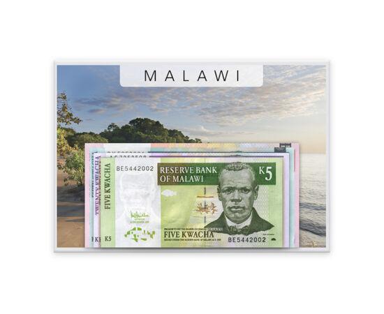 // 5, 10, 20, 50, 100 kwacha, Malawi, 2004-2011 // - Malawi a Nyasza-tó szülte édenkert. Szubtrópusi éghajlata a tó mentén különleges mikroklímát hoz létre, ahol burjánzik az élet. Bankjegyein a hagyományos és a modern világ találkozik. A pénzneme, kwacha