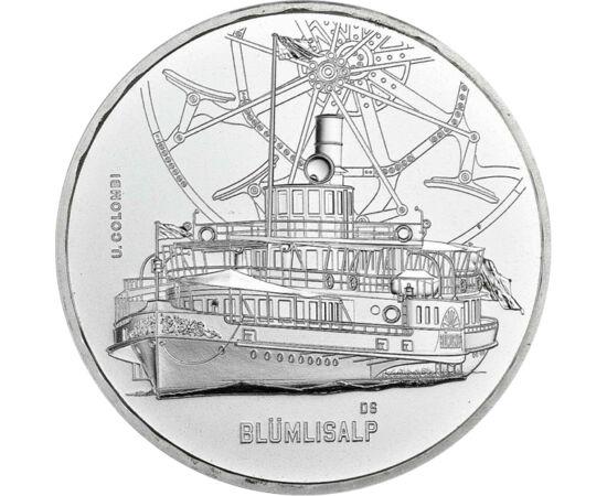 // 20 frank, 835-ös ezüst, Svájc, 2019 // - A Svájci Pénzverde, hasonlóan az MNB korábbi kibocsátásaihoz, történelmi hajóikat jeleníti meg ezüst érméken. A legújabb ezüst 20 frank a Blümlisalp gőzös előtt tiszteleg. 1906-ban üzembe helyezett hajó méretei,