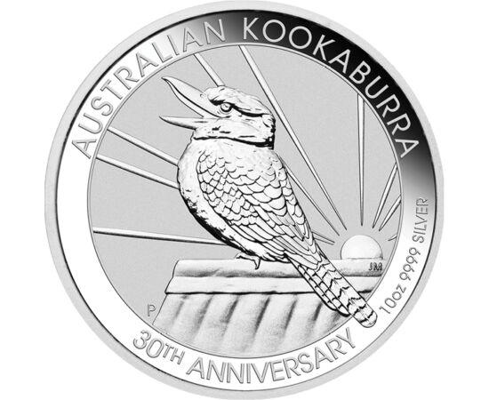 // 10 dollár, 999,9-es ezüst, Ausztrália, 2020 // - Ausztrália kibocsátásában immár 30 éve jelenik meg minden évben a kookaburrát, magyarul kacagójancsit ábrázló ezüst befektető érme. Ezen a gigantikus jubileumi kibocsátáson az érme mindkét oldalán vissza