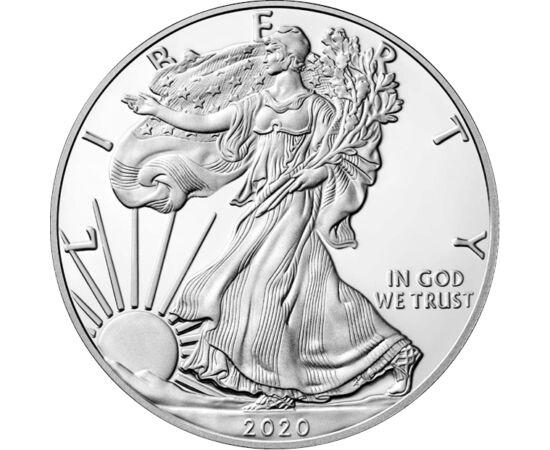 """// 1 dollár, 999-es ezüst, USA, 2020 // - A legismertebb és legkedveltebb ezüst befektetőérme legújabb kibocsátása! Az első egy unciás ezüst sast 1986-ban bocsátotta ki az amerikai pénzverde. Azóta minden évben megjelenik, előlapján a """"Walking Liberty"""" mo"""
