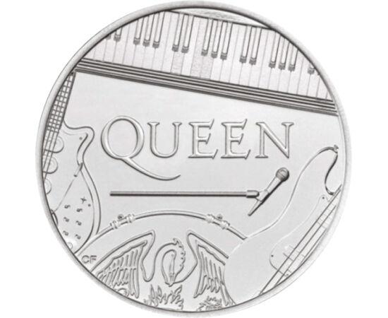 """// 5 font, Nagy-Britannia, 2020 // - 1970-ben alakult meg a legendás brit rock együttes, a Queen. Az érme előlapján II. Erzsébet királynő, a hátlapján a """"királynő"""" Queen együttes látható, de tiszteletből nem a portréikkal, hanem a hangszereikkel képviselt"""