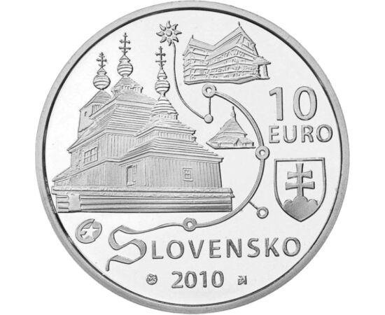 // 10 euró, 900-as ezüst, Szlovákia, 2010 // - 2008-ban a szlovákiai fatemplomokkal bővült az UNESCO örökség. Itt a római és görög katolikus, valamint a református egyház is átvette a helyiek faépítési hagyományát, és templomot emeltek fából. Ezek egyike