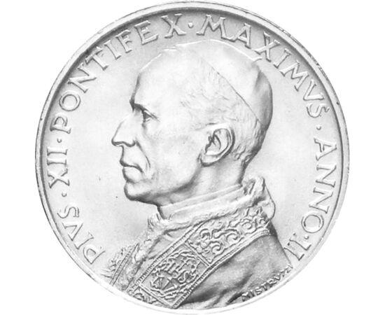 // 5 líra, 835-ös ezüst, Vatikán, 1939-1941 // - XII. Piuszt 1939-ben, a II. világháború előestéjén választották pápának. Legelső egyházfői megnyilvánulásaként a békéért emelte fel a szavát, és a háború kitörése után a béke mielőbbi helyreállítását sürget