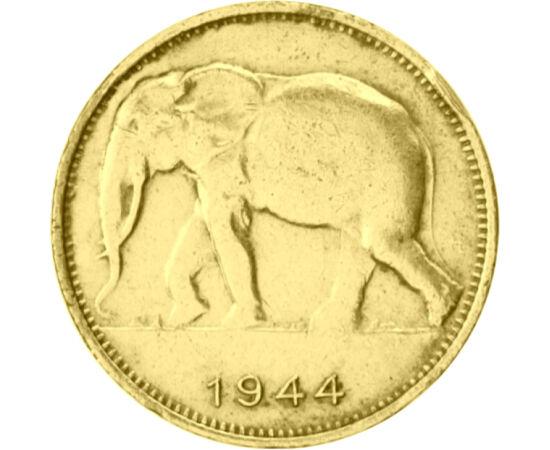 // 1 frank, Belga Kongó, 1944-1949 // - Az Afrika szívében található ország 1908-tól 1960-ig belga gyarmat volt. Uránbányászatának köszönhetően az atomkorszak elején az ország rendkívüli jelentőségre tett szert. A II. világháború alatt és közvetlenül után
