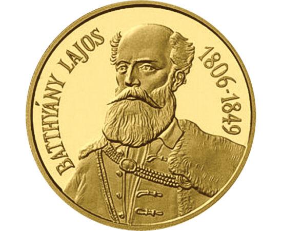 // 20000 forint, 986-os arany, Magyar Köztársaság, 1998 // - Batthyány Lajos, az első felelős magyar kormány miniszterelnöke jelent meg a szabadságharc 150. évfordulójára kibocsátott aranyérmén, majd születésének 200. évfordulóján, A Batthyány-emlékévben