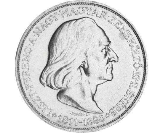 // 2 pengő, 640-es ezüst, Magyar Királyság, 1936 // - A pengő-rendszer húsz éves fennállása alatt mindössze hat emlékpénz látott napvilágot. Az utolsó ezüst kétpengőst Liszt Ferenc halálának 50. évfordulójára bocsátották ki. Igazi magyar történelmi kincs,
