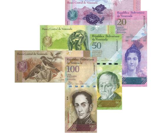 // 2, 5, 10, 20, 50, 100 bolivar, Venezuela, 2007-2015 // - Venezuela különleges bankjegyei igen szokatlanok. A nemzeti hősöket ábrázoló oldal függőleges tájolású, míg a hátoldal - rajta az ország védett állataival - hagyományos nyomású.