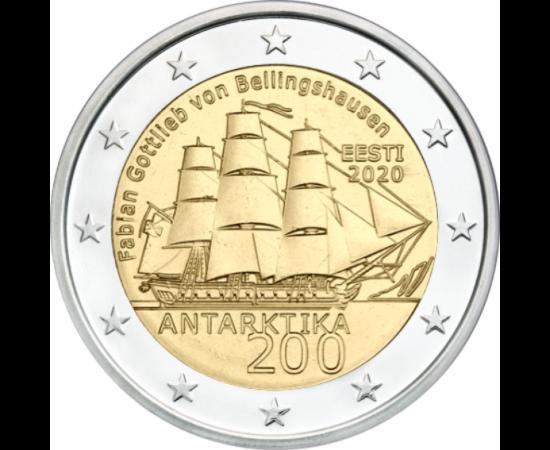 // 2 euró, Észtország, 2020 // - Fabian Gottlieb von Bellingshausent 1819-ben bízták meg a déli-sarki expedíció vezetésével. 1820. január 28-án elsőként pillantotta meg az antarktiszi szárazföldet. A kutatómunka során Vosztok nevű hajóval  körbehajózta a