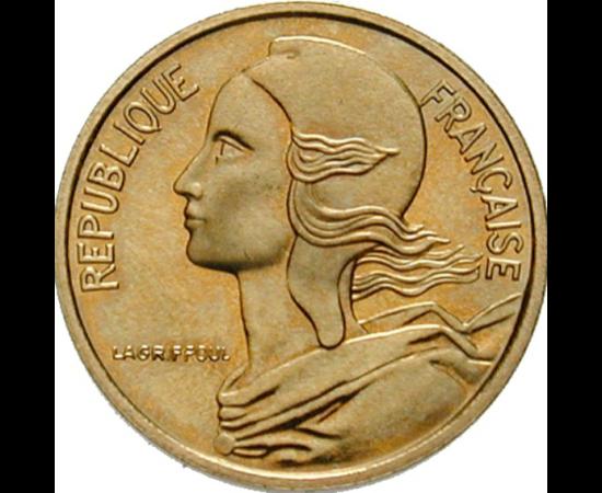 // 5 centime, Franciaország, 1966-2001 // - Marianne Franciaország szimbóluma. A fején viselt frígiai sapka a szabadság jelképe. Az ókori Rómában csak a szabad emberek hordhattak süveget, a rabszolgák nem. A francia forradalomban Marianna és a frígiai sap