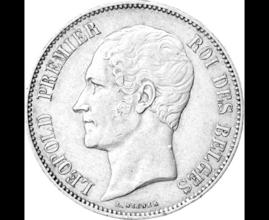 // 5 frank, 900-as ezüst, Belgium, 1849-1865 // - 1831-ben I. Lipót lett a függetlenné vált Belgium első királya. De Lipót, első felesége révén ülhetett volna a brit trónon is, illetve 1829-ben a görög koronát is felajánlották neki. Legfőbb erőssége az vo