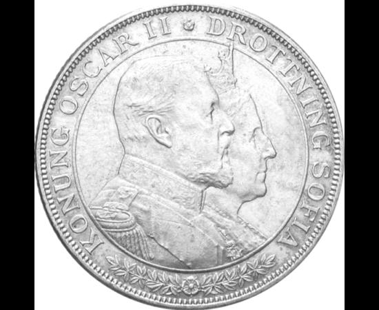 // 2 korona, 800-as ezüst, Svédország, 1907 // - II. Oszkár, Svédország és Norvégia királya 1857. június 6-án kötött házasságot Zsófia hercegnővel. 1907-ben gyönyörű ezüst emlékpénz ünnepelte 50 éves házassági évfordulójukat. Épphogy megélte az aranylakod