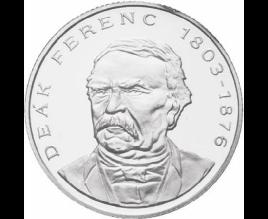 // 200 forint, 500-as ezüst, Magyar Köztársaság, 1994 // - 1994-től Deák Ferenc portréjával jelentek meg az ezüst 200 forintos érmék. Magas, 6 gramm színezüst tartalmukból adódó fémértékük azonban rövidesen meghaladta névértéküket, így kivonták a forgalom