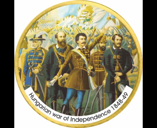 // 1 dollár, USA, 2007-2016 // - A magyar történelem egyik legmeghatározóbb fegyveres konfliktusa volt az 1848-49-es forradalom és szabadságharc. Célja Magyarország Habsburg Birodalomtól való teljes körű függetlenségének kivívása volt.  Az érmén a szabads
