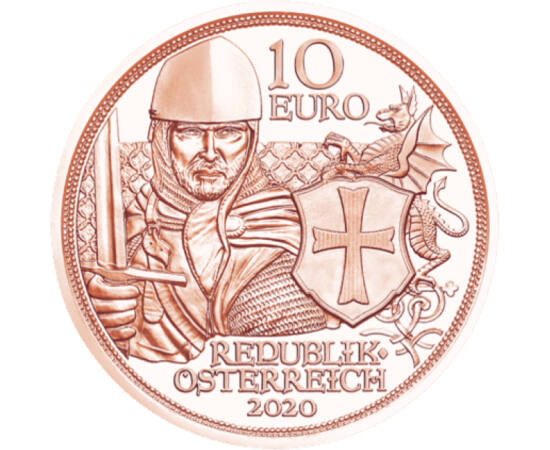 // 10 euró, Ausztria, 2020 // - A templomos lovagok életmódja egyesítette a szerzetesek istenfélő, tiszta életét a lovagok becsületes, bátor és kompromisszumok nélküli jellemével. Ők voltak a kor elit harcosai. Létezésüket, életüket számtalan legenda övez