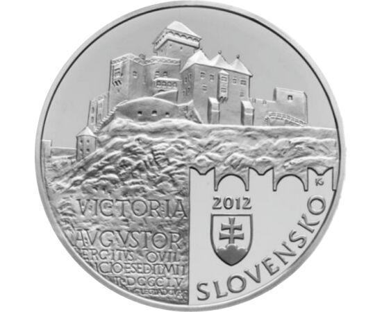 // 20 euró, 925-ös ezüst, Szlovákia, 2012 // - III. András király halálával 1301-ben kihalt az Árpád-ház. Az ezt követő időszak a trónviszályok és a kiskirályok kora volt. Ennek az időszaknak a legnagyobb hatalmú ura Trencséni Csák Máté volt. A szlovák 20