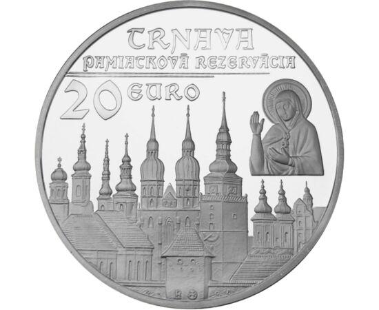 // 20 euró, 925-ös ezüst, Szlovákia, 2011 // - Ezzel a peremfelirattal bocsátották ki 2011-ben a Nagyszombatnak emléket állító emlékpénzt. Előlapján a nyolc legjelentősebb templomának tornya, hátlapján az Egyetem korabeli ábrázolása látható, amely az ELTE