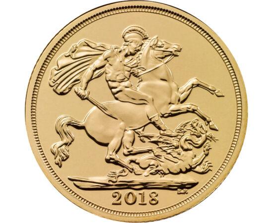 """// 1/4 sovereign, 917-as arany, Nagy-Britannia, 2018-2019 // - Az angol verde """"zászlóshajója"""" a sovereign. A brit arany sovereing hosszú évek óta jelképezi a monarchia gazdagságát és hatalmát. Az érmén hagyományoknak megfelelően Sárkányölő Szent György lá"""