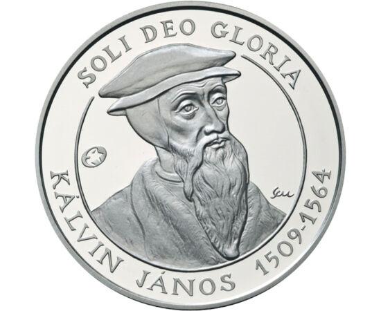 // 5000 forint, 925-ös ezüst, Magyar Köztársaság, 2009 // - Kálvin János születésének 500 éves évfordulóját ünnepelte az egész világ 2009-ben. A reformáció vallásalapítója korát meghaladó gondolkodó volt. Az érmén Krisztus monogramja látható a Debreceni R