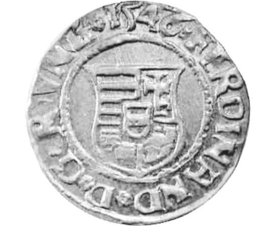 // denár, 600-as ezüst, Magyar Királyság, 1526-1564 // - A Mohácsi csatában elhunyt a király és vele a főurak döntő többsége. A trónt I. Ferdinánd szerezte meg, nem csak a maga, hanem majd 400 évre a Habsburg dinasztia számára is. A történelmi múlt hitele