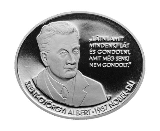 // 3000 forint, 925-ös ezüst, Magyarország, 2012 // - Nobel-díjas tudósunk Szent-Györgyi Albert nem kevesebbet hagyott ránk, mint a C-vitamin csodáját. Részletesen leírta élettani hatásait, előállítási módját. Szerinte a konyhasóval vagy a cukorral azonos
