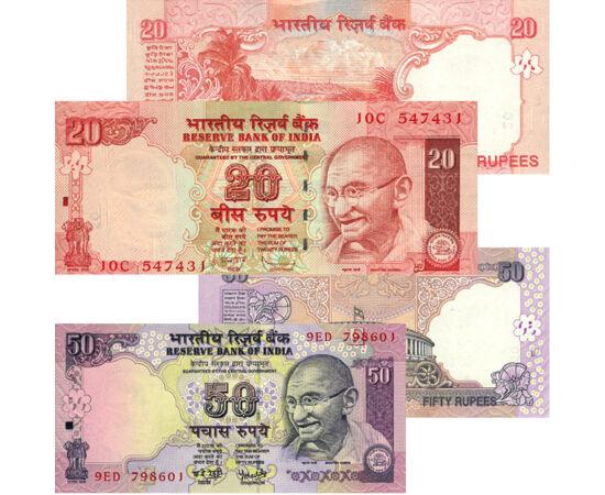 // 5, 10, 20, 50 rúpia, India, 2006-2010 // - Két világvallás, a hinduizmus és a buddhizmus hazája. A végtelen gazdagság és a legmélyebb szegénység is megtalálható ebben a távoli, csodálatos országban. A messzi India forgalmi sora minden gyűjtemény egzoti