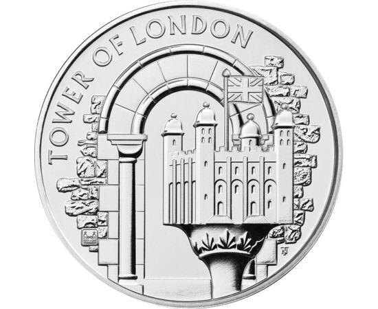 """// 5 font, Nagy-Britannia, 2020 // - A legújabb kibocsátású brit érme egyik ikonikus épületüket a """"Tower""""-t, és annak legerősebb és legrégebbi részét a """"Fehér Tornyot"""" jeleníti meg. A középkori erődítményt Hódító Vilmos építtette, majd később kibővítették"""