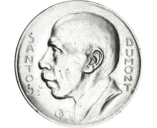// 5000 reis, 600-as ezüst, Brazília, 1936-1938 // - A francia-brazil származású tudós Alberto Santos Dumont a levegő szerelmese volt. Pilóta, feltaláló, léghajós és tudós, minden porcikája a repülésért rajongott. Emlékét őrzi szülővárosa neve, repülőtere