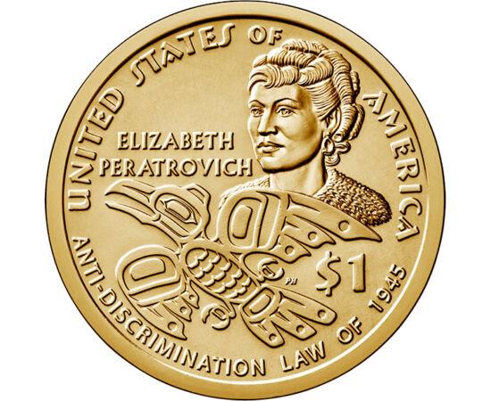 // 1 dollár, USA, 2020 // - Az USA kibocsátásában évről-évre megjelenő Native dollár ezévi darabja a híres polgárjogi aktivista Elizabeth Peratrovich emlékét idézi, aki az alaszkai bennszülöttek egyenjogúságáért küzdött. Az ő érdeme, hogy 1945-ben elfogad