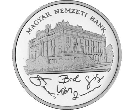 // 200 forint, 500-as ezüst, Magyar Köztársaság, 1992 // - 1992 és 1998 között még ezüst forgalmi pénz is megtalálható volt a pénzforgalomban, méghozzá kétféle motívummal. Az 1992 és 1993 között vert ezüstpénzeinken a Magyar Nemzeti Bank látható. Mára ter