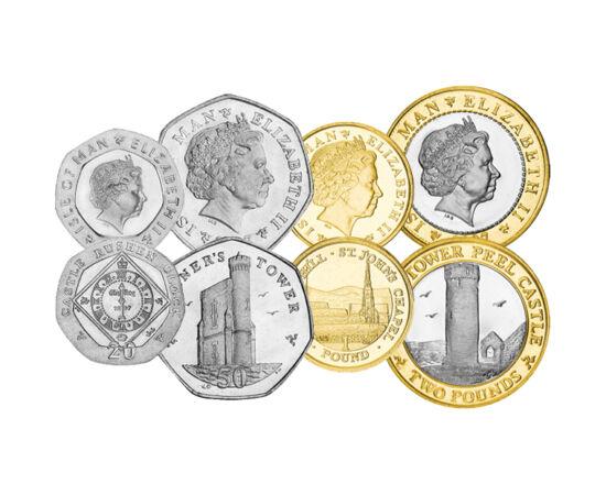 // 1, 2, 5, 10, 20, 50 penny, 1, 2 font, Man sziget, 2004-2015 // - Man sziget nem része az Egyesült Királyságnak, hanem a brit korona függősége. Legmagasabb pontja a 621 méter magas Snaefell. Egy régi mondás szerint innét körülnézve az ember hat királysá