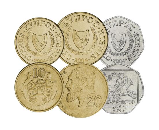 // 1, 2, 5, 10, 20, 50 cent, Ciprus, 1991-2004 // - Ciprus földrajzi szempontból Ázsiához tartozik, addig az ország kulturális és politikai szempontból is Európa része.  2004 óta az Európai Unió tagja, és 2008-ban vezette be az eurót. Ezek az utolsó nemze
