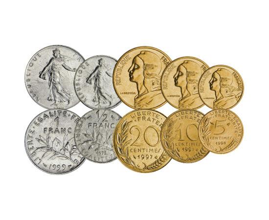 // 5, 10, 20 centime, 1/2, 1, 2, 5, 10 frank, Franciaország, 1960-2001 // - Franciaország euró előtti forgalmi pénzein a klasszius, szép, és sokak által kedvelt motívumok jelennek meg Marianne, illetve a magvető lány alakja. Mindkettő a francia szabadságo