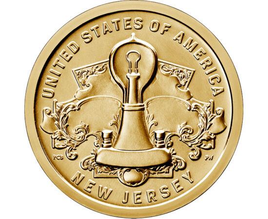 // 1 dollár, USA, 2019 // - Edison találmánya a villanykörte minden háztartásba eljuttatta a biztonságos és egyszerűen használható fényt! Ez a találmány megváltoztatta az emberiség életét. Az Amerikai újítók érmesorozat részeként New Jersey állam emlékezi
