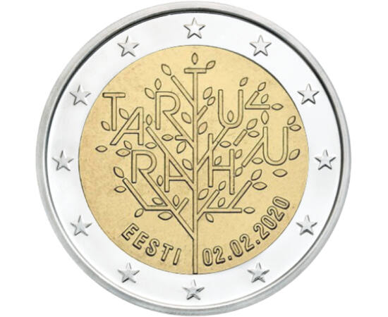 // 2 euró, Észtország, 2020 // - 100 éve zárult le az észt függetlenségi háború a tartu békeszerződéssel. Ennek értelmében létrejött az immár Szovjet-Oroszországtól független Észtország. Ennek a jelentős történelmi dátumnak állít emléket ez a különleges k