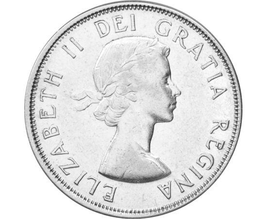 // 50 cent, 800-as ezüst, Kanada, 1959-1964 // - Kanada történelme során több hódítást is elszenvedett.1931-től teljes függetlenséget kapott, és a mindenkori brit uralkodó az államfője. Az érmék egyik oldalán II. Erzsébet királynő  portréja, a másik oldal