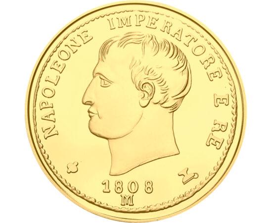 // 20 líra, utánveret, Olaszország, 1808 // - Bonaparte Napóleon, a hadvezetés máig élő ikonja. 1797-ben a nagy francia hódító Olaszország északi területének nagy részét uralma alá hajtotta. Így készülhettek a francia császár portréjával olasz aranyérmék.
