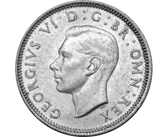 // 1 shilling, 500-as ezüst, Nagy-Britannia, 1937-1946 // - VI. György - a most uralkodó II. Erzsébet édesapja - rendhagyó módon került a Brit Birodalom trónjára, és uralkodása is rendkívüli volt. Lemondott bátyja helyett vonakodva vállalta a királyságot,