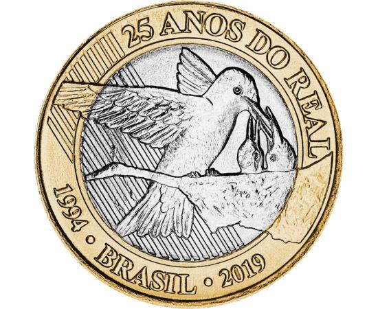 // 1 real, Brazília, 2019 // - 1994-ben vezették be Brazíliában a realt, az azóta is használatos fizetőeszközt. A 25 éves évfordulóra jelent meg tavaly ez a gyönyörű érme, mely a fiókáit etető kolibrit ábrázol.
